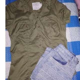 H&M Army Green Buttondown