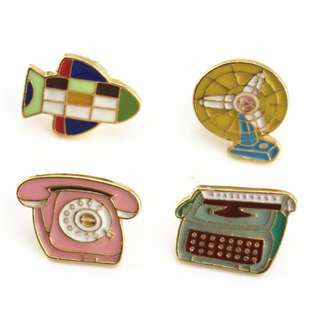 #241 vintage thrift typewriter fan telephone tumblr enamel pin | pl