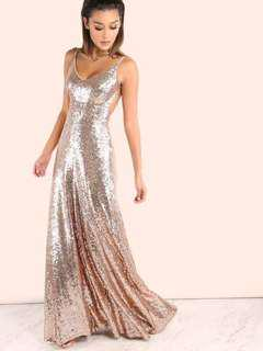 ROSE GOLD SEQUIN FORMAL DRESS RENT/BUY