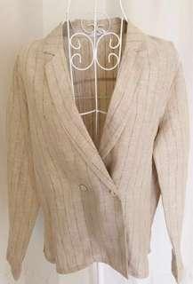 🚚 二手韓版米色條紋麻質外套