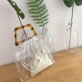 Tortoise Shell Handle Clear Bag