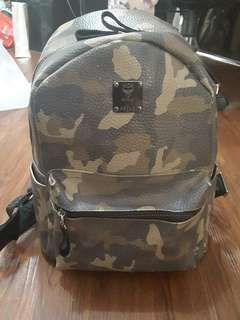 MCM army backpack 100% original leather