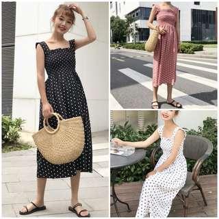 Women Sleeveless Dots Dress