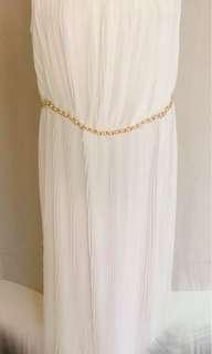 🚚 二手白色紗質長洋裝