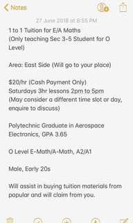 Tuition for E/A Maths