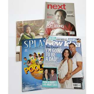 Lot of 4 Lifestyle Leisure Magazines: Next, New Idea, Splash *Clearance Price! Used, Fair Condition!