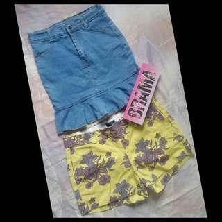 Denim skirt & short set