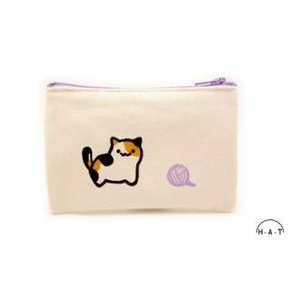 Calico Cat with Yarn Ball (Purple) Handmade Canvas Pouch