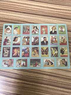 Vintage stamps stickers x 55 pieces