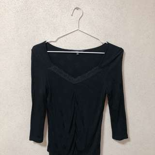 Black Mesh Knit Top