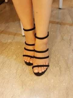 Black Strappy Heels Wedges