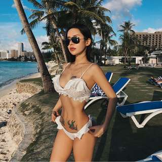 2018新款歐美性感泳衣比基尼蕾絲荷葉邊度假泳裝