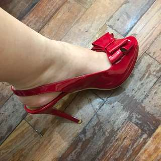 Slingback Heels Red Bow