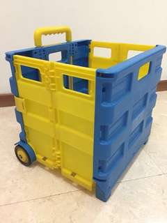 Multifunctional Foldable Trolley Cart with 2 wheels Blue Yellow
