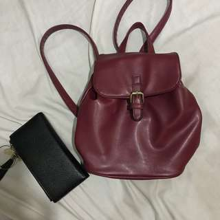 Maroon Faux Leather Backpack