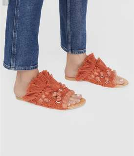🚚 Free people 珊瑚色針織毛毛拖鞋 zoeyf