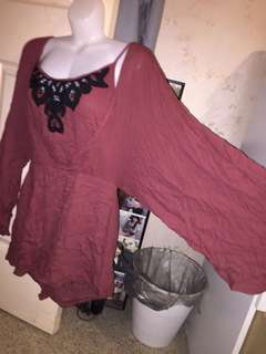 NEW maroon lace wide bell sleeve playsuit