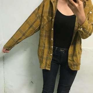 🚚 黃格子襯衫