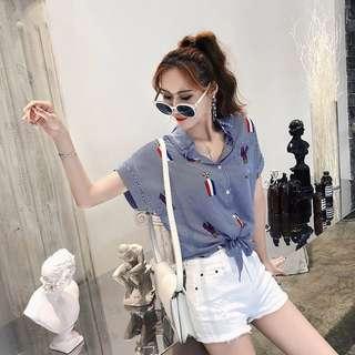 🚚 韓版休閒設計款條紋襯衫短袖上衣