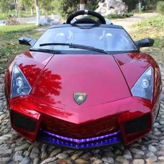 2 Seater Red Lamborghini Rechargeable Ride On Car with Rubber Tires