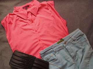 Pink Sleeveless Polo with Lace Back