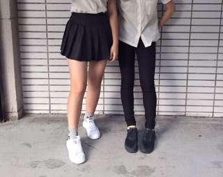 🚚 黑色韓版百褶裙
