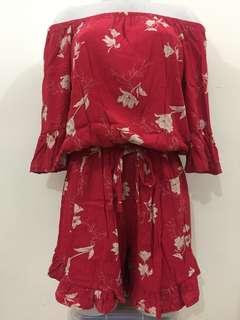 Trendy Red floral romper