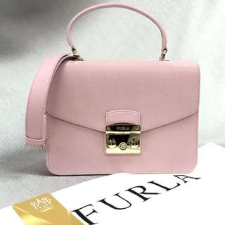 Furla 女裝時尚粉紅色真皮手袋(可斜揹) Original Furla Women's Fashion Pink Genuine Leather Handbag(Can Oblique Back)
