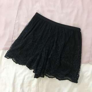 Topshop Black Lace Skorts