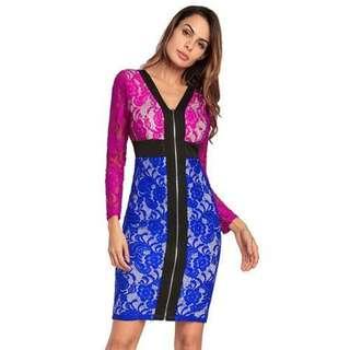 性感女裝蕾絲撞色長袖連衣裙/Sexy Ladies Contrast Long Sleeve Dress