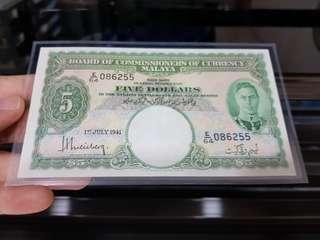 Malaya 1941 King George VI $5 ( AU )