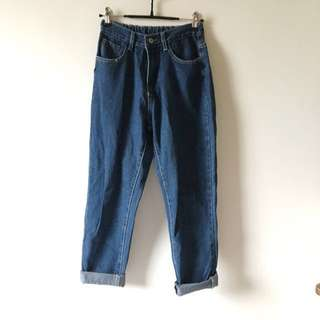 全新深藍 Boyfriend 款牛仔褲 哈倫褲 Jeans
