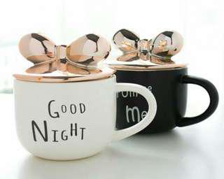 🚚 北歐立體粉紅玫瑰金屬蝴蝶結陶瓷馬克杯、牛奶杯、咖啡杯、情侶杯子、字母簡約風』