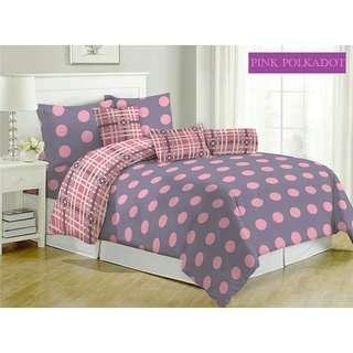 Satu set bedcover fata Pink polkadot