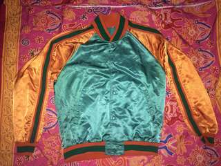 satin green and orange jacket