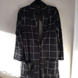 Grid Blazer Duster Jacket