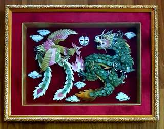 Jade and Shell Art Wall Deco-Dragon and Phoenix