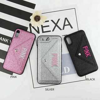 VS PINK Glitter iPhone Protective Cases with Card Slot ₱350 + sf
