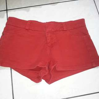 Pull&Bear Red Denim Shorts
