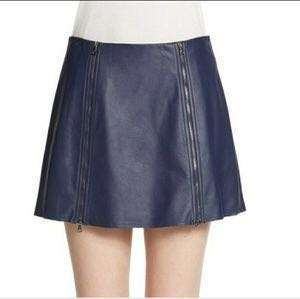 BCBGmaxazria leather skirt深藍皮裙中低腰拉鍊半截裙顯瘦短裙sexy party clubbing dress mini特價