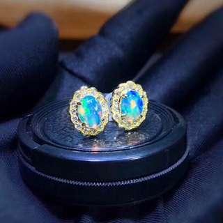 彩虹落入凡間🌈世界變得絢麗多彩Opal澳泊鑽石18k金耳環🎁防敏感耳環女朋友生日禮物