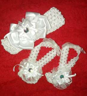 Baptism Accessories: Headband & Barefoot Sandals