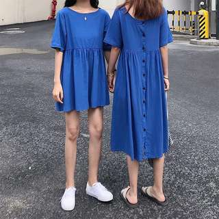 🚚 Summer Korean version of the back button short-sleeved dress - both sides can wear