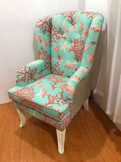 Coral and Teal Wingback chair