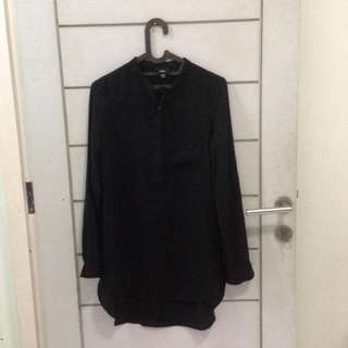 Massimo Long Dress Shirt Kemeja Full Black Lengan Panjang