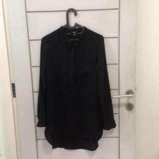Massimo Long Dress Shirt Kemeja Full Black Lengan Panjang