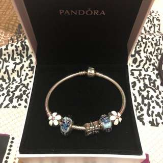 Authentic Pandora Bracelet w charms and polishing cloth💕