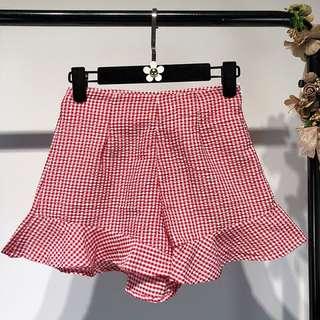 Red Checkered Skirt #skirt