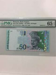 Malaysia 50 Ringgit, 11th Series! Solid 1 , PMG 65 , EPQ