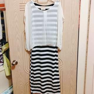 🚚 雪紡黑白條紋洋裝